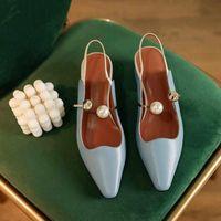 Sukienka Buty Gorgeous Pearl Klamra Paski Prawdziwej Skóry Małe Plac Toe Med Heels Solid Fashion Dating Slingback Pompy L13