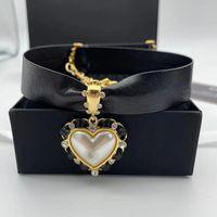 Chokers 2021 Brand Fashion Jewelry Women Black Leather Chain Red White Heart Pendants Choker Luxury Short Gold Party