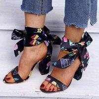 Flock tacco alto tacco estate sandali nastro sandali vintage nero moda caviglia cinturino pompe bow knot scarpe casual scarpe donna taglia 34 43 uomini s o1fo #