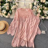 Gaganight oco out mulheres laço camisole mini vestido flare manga o pescoço vestidos soltos moda primavera outono vestidos plus tamanho