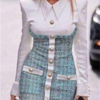 2021 Yeni Tasarım Avrupa Moda kadın Faux 2 Parça Dönüş Yaka Gömlek Yama Tüvit Yün Tek Göğüslü Kalem Bodycon Elbise