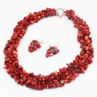 """ファッション女性のネックレスイヤリングジュエリーセット天然石赤いコーラル9-11mm不規則な砂利チップビーズのネックレスイヤリング18 """"A68"""