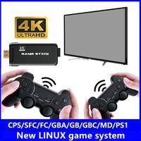 Jugadores de juegos U8 32GB 4K TV Videojuegos Stick Linux System Retro Classic 64 Bit con controlador inalámbrico de 2.4 g de salida HDTV para regalo de doble jugador