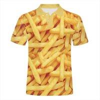 EU EE. UU. Tamaño de los EE. UU. Camisetas Hombre para hombre Polo 3D Impresión de alimentos Fritones francés Streetwear Plus 6XL Garment Homme Summer America