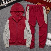 2021 Tracksuit Men Casual Hooded Sets Patchwork Autumn Winter Hoodie+pants 2 Piece Outfit Set Mens Sportswear Joggers Sport Suit