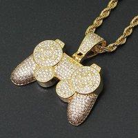 Pendant Necklaces Fashion Charm Game Console Pendants Iced Out Chain Bling CZ Gold Bijoux Color Men's Hip Hop Rock Necklace Jewelry Kids Boy