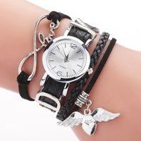 مصمم العلامة التجارية الفاخرة الساعات duoya es للنساء الفضة القلب قلادة الجلود حزام كوارتز ساعة المعصم zegarek damski