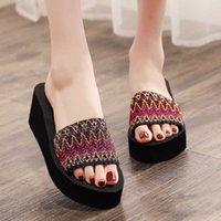 High heeled muffin shoes high heeled flip flops women's summer non slip slope heel thick bottomed beach sandals muffin Korean Trend