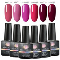Nail Art Kits MEET ACROSS UV Gel Polish Set Pure Color Series Led Varnish Semi Permanent Sequins 6pcs set