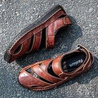 Times New Roman Мужская Обувь Натуральная Кожа Мужчины Сандалии Летние Мужчины Обувь Beach Sandal Человек Мода Открытый Повседневная Кроссовки Размер 48 X1JP #