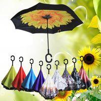 64 Patrones Diseño Invertido Paraguas Sunny Rainy Umbrella Reverse Plegable A prueba de viento Paraguas invertidos con mango C HWF7602