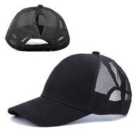여름 womens 모자 포니 테일 야구 메쉬 모자면 다시 솔리드 컬러 태양 모자 크로스 테두리 옥외 첨단 모자