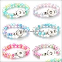 Charm Jewelrycharm Bracelets 10Mm Simated Pearl Beads Elasticity Female 18Mm Snap Bangles For Women Button Bracelet 4700 Drop Delivery 2021