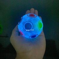 레인보우 마법 큐브 빛나는 공 몬테소리 키즈 장난감 스핀 탑 마술 안티 스트레스 Relive Cbue 공 두뇌 티저 게임 아이 성인 장난감 선물