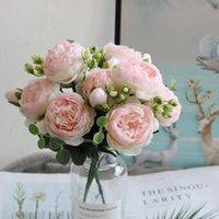 Декоративные цветы венки 30 см розовый розовый шелковый пион искусственный букет 5 большая головка и 4 бутона для дома свадебные украшения в помещении
