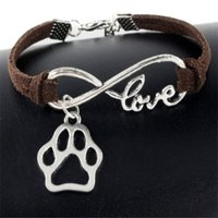 Cute Pets Dogs Cat Animal Bear Paw Charms Pendant Love Infinity Bracelet Silver Plated Leather Chain SimpleWomen Vintage Jewelry ps1503