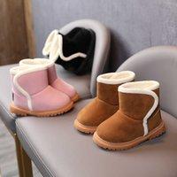 Botas de nieve para niños Zapatos de invierno para niñas Botas de lana de cordero Botas de algodón de nieve para niños Zapatos de algodón espesor del bebé