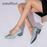 Sophitina Pompes Femmes Elégante Cuir Véritable Véritable Chaussures Femme Sans Fête De Mariage De Mariage De Mariage Fashion Lady Chaussures K08 210310
