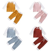 Clothing Sets Born Baby 2Pcs Outfit Set Fall Spring Ribbed Knitted Long Sleeve Color Block Top And Pants For Infant Boys Girls