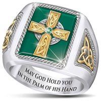 Anel de bênção celta cruz avó homem anel