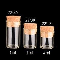2021 petit tube à essai avec bouchon de liège 4 ml 5 ml de bouteille d'épice de verre de verre de 6 ml de bricolage bricolage bouteille de verre transparent bouteille de dérivation DWA3778