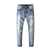 Mens jeans splash ink hole washing light blue straight casual pants Europe and America