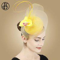Fs senhoras fascinator chapéus Base bege sinamay igreja de casamento para mulheres pillbox chapéu véu elegante acessórios de cabelo headwear