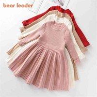 Bear Leader Long Sleeve Sweater Dress Girls Princess Baby Clothes Sweet Tutu Party Dresses Christmas Little 210915
