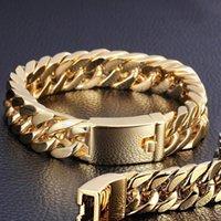 Link, Chain Chrams Gold Stainless Steel Cuban Bracelet Retro Men's Hook Jewellery Male Hip Hop Jewelry Gifts Bracelets For Women