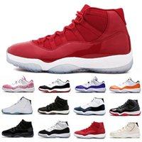 Высококачественный тренажерный зал Красный jumpman 11 Мужские баскетбольные туфли Серый замшевый колпачок и платье Concord Space Whar White Мужчины Женщины тренеров Спортивные кроссовки