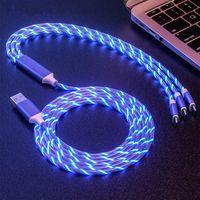 USB 전화 케이블 조명 마이크로 유형 C 3 in 1 LED Glow 흐르는 충전기 8 아이폰 13 충전 12promax 안드로이드