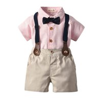 Baby Clothing Sets Boys Suits Children Outfit Kids Clothes Summer Gentleman Bow Tie Short Sleeve Shirts Suspenders Shorts Pants Birthday B7278