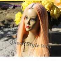 Tangerine Color Hair Wig Synthetic Straight Orange Hair Wig Fantasy Color Cosplay None Lace Lace Front Wigs for Drag Queen