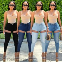 2021 Women Denim Pencil Pants Causal High Waist Jeans Woman Sexy Ripped Hole Vintage Solid Stretch Workout Skinny Mom Jeans cy6908