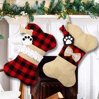 "2pcs 18"" Pet Dog Christmas Stockings Classic Buffalo Plaid Xmas Socks Large Bone Shape Hanging Pets Stocking for Dogs Christmas-Decorations Holidays Firepalce decro"