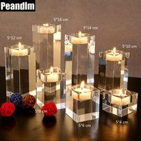Peandim 홈 장식 촛대 웨딩 아이디어 K9 크리스탈 캔들 홀더 테이블 센터 피스 바 커피 숍 장식 210310