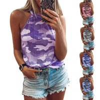 Women's Tanks & Camis Women Camouflage Halter Camisole Vest Tops Female Shirt Tee Sleeveless 2022 Summer O Neck Sexy Backless Cami Party Y2k