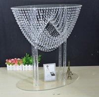 80 см (31 дюйма) блестящая овальная форма кристалл акриловая партия украшения из бисера свадебные центральные центры цветок столярное декор для мероприятия
