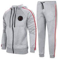Erkek Rahat Kapüşonlu Eşofman Tam Zip Erkekler 2 Parça Koşu Koşu Atletik Spor Ceket Ve Pantolon Seti Erkek Spor Somutular EUR Boyutu TZ3