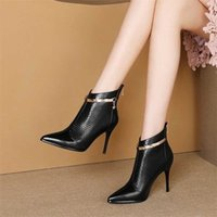 Rimocy Women Sexy Pointed Toe Super High Heels Ankle Boots Autumn Winter Warm Short Plush Booties Woman Shiny Sequin Botas Mujer 211021