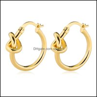 & Hie Jewelryfashion 25Mm Knotted Buckle Sier Gold Concentric Knot Small Ear Hoop Earrings For Women Drop Delivery 2021 5Zhi2