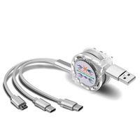 Stok Geri Çekilebilir Çok USB Şarj Kabloları Mikro Tipi C Kordon Samsung Galaxy A30 A50 A70 M30 Cep Telefonu Çoklu Şarj Cabel