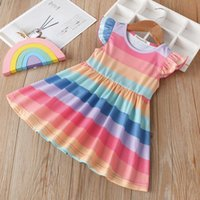 YOJOJOCO Summer Girl Rainbow Striped Sleeve Dress Princess D...
