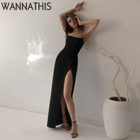 Casual Dresses Elegant Sleeveless Ankle-Length Cami Dress For Woman Backless Side Split Robe Sexy Chic Aesthetic Evening Maxi