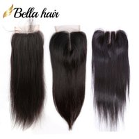 "100% Unprocessed Peruvian Malaysian Indian Brazilian Lace Closure Human Virgin Hair Closure 4x4 Silky Straight Top Closures 8""-20""Bella Hair"