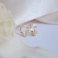 Hoop & Huggie Ins Creativity Plated 14k Real Gold Round Ear Ring For Women Micro-inlaid Zircon Bow Stud Earrings Holiday Party Elegant Jewel