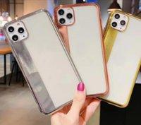 Kaplama Yumuşak TPU Kılıf iphone 11 XS Max XR X 8 7 6 6 S Artı Krom Bling Lüks Metalik Elektrolizle Şeffaf Kristal Temizle Kapak