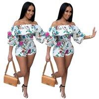 Women luxury Jumpsuits Rompers sexy club summer clothes running short sleeve Print letter sportswear slash neck shorts leggings bodysuits beachwear fashion 03571