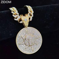 Pendant Necklaces Men Hip Hop Lucky Number Seven Necklace With 13mm Miami Cuban Chain Iced Out Bling Hiphop Fashion Jewelry