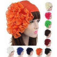 Beanies Women Muslim Ruffles Flower Turban Bonnet Hat Bandana Chemo Caps Beanie Scarf Head Wrap Cap Headband Cancer Sombrero